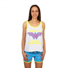 Pijama dama Wonder Woman alb cu bleu