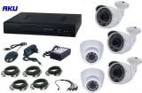 Kit Supraveghere Video AKU Ak9517, 5 camere interior/exterior 1MP, DVR 4 canale, Compresie H264, AHD + cablu
