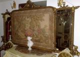 Tapiserie cu oglinda/tablou vintage/antic,rama lemn sculptat,2,33m, Accesorii mobilier, 1900 - 1949