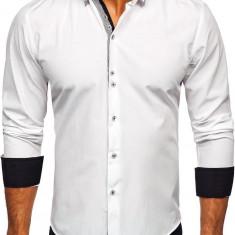 Cămașă elegantă bărbați alb Bolf 6929-A