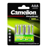 Set 4 acumulatori AAA 600 mAh, Ni-Mh 1,2V  ready to use - Camelion
