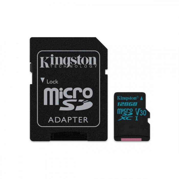 Card Kingston 128GB microSDXC Canvas Go 90R/45W U3 UHS-I V30 Card cu adaptor SD