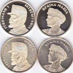 Moneda Romania 50 Bani 2019 - Proof + UNC (set x4 - Ferdinand I + Regina Maria )