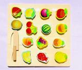 Pzzle Montessori din lemn, tabla cu 14 fructe de taiat si cutit