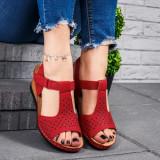 Sandale cu platforma dama rosii Khira