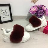 Adidasi albi cu puf visiniu pantofi sport fete scai piele eco 25 27 28 29 30
