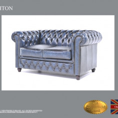 Canapea din piele naturală -Albastru Antique-Autentic Chesterfield Brand
