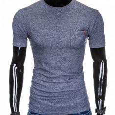 Tricou pentru barbati, bleumarin, buzunar piept, slim fit, mulat pe corp, bumbac - S885