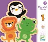 Joc puzzle creativ cu piese magnetice din lemn - Djeco Animale prietenoase, 24 piese