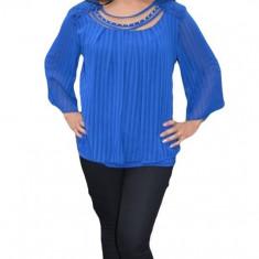 Bluza albastra de ocazie, cu design de dungi verticale si dantela