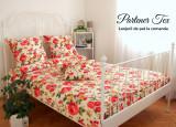 Lenjerie de pat,Pat dublu,bumbac Ranforce creponat,Trandafiri mari rosii