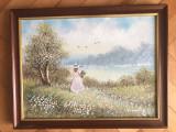Tablou,pictura franceza in ulei pe panza,culegatoarea de flori, Peisaje, Altul