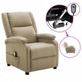 Fotoliu de masaj rabatabil electric, cappuccino piele ecologică, vidaXL