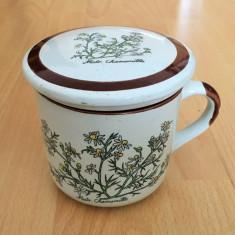 Infuzor / Cana  ceai - cu infuzor + capac - portelan Bavaria - motiv floral