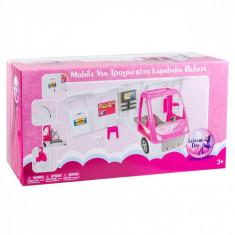 Masina tip casuta pentru papusi, 53x28x21 cm, roz