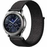 Curea ceas Smartwatch Samsung Gear S3, iUni 22 mm Soft Nylon Sport, Black