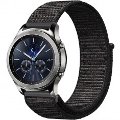Curea ceas Smartwatch Samsung Gear S2, iUni 20 mm Soft Nylon Sport, Black