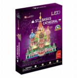 Cumpara ieftin Puzzle 3D Led - Catedrala St. Basil, 224 piese, CubicFun