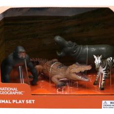Set 4 figurine - Gorila, Crocodil, Pui Zebra si Hipopotam PlayLearn Toys