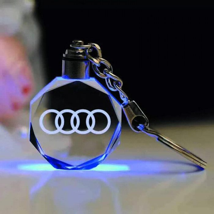 Breloc auto Audi cu led, logo luminat+ cutiuta