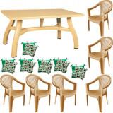 Set gradina King masa 80x140 cm cu 6 scaune Carnaval culoare bej,6 perne scaun B001133 Raki