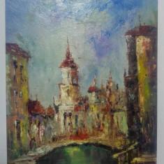 Peisaj venetian/ Nicolae Ambrozie, ulei pe carton