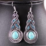 Cercei dama stil vintage / chic cu Turquoise si cristale