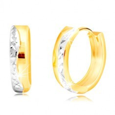 Cercei rotunzi din aur de 14K - linie ondulată din aur alb
