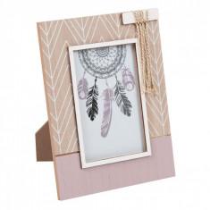 Rama foto decorativa cu model, 22×17 cm, maro