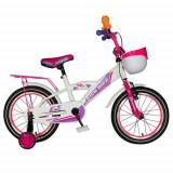 Bicicleta Copii Rich Baby T1603C, roti 16inch, frana V-Brake, roti ajutatoare, 4-6 ani (Alb/Roz)