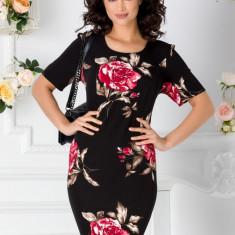 Rochie Malina neagra cu trandafiri rosii, S