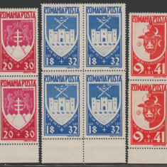 Romania 1942 - Un an Bucovina, LP 148 I blocuri de 4 timbre MNH