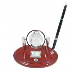 Set Birou Lemn cu Glob Pamantesc cu Simbol Masonic MM619