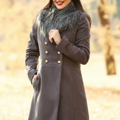 Palton StarShinerS gri-inchis elegant cu un croi cambrat din lana captusit pe interior cu guler din blana si buzunare