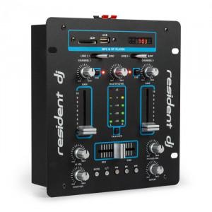 Resident DJ DJ-25, dj-mixer, pult de mixaj, amplificator, bluetooth, usb, negru/albastru