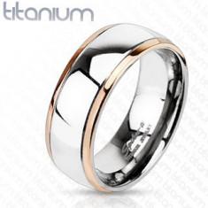 Inel din titan cu margini de culoarea cuprului si centru argintiu - Marime inel: 49