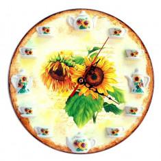 Ceas de perete decorativ cu model floarea soarelui galben-maro 25 cm 1093
