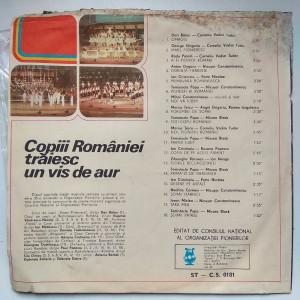 vinil disc Copiii României trăiesc un vis de aur - cantari pionier comunism