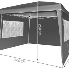Cort Pavilion 3x3m pentru Curte, Gradina sau Evenimente cu 3 Pereti Laterali, Culoare Gri Inchis