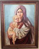 Maternitate Tablou vechi anii 30-40, pictura in ulei pe panza inramat 47x37cm