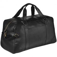 Geanta de voiaj de weekend, Everestus, OD, piele ecologica, negru, saculet de calatorie si eticheta bagaj incluse