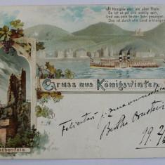 GRUSS AUS KONIGSWINTER , CARTE POSTALA ILUSTRATA , CROMOLITOGRAFIE , POLICROMA , CIRCULATA , CLASICA , DATATA 1899