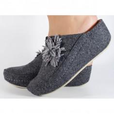 Papuci de casa MUBB gri din lana (cod 6624.2)