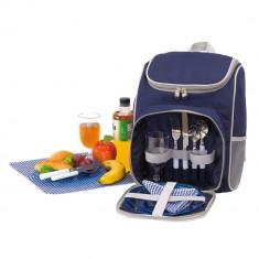 Rucsac picnic, 2 persoane, accesorii incluse, albastru gri, Everestus, CP12OE, poliester, saculet si pastila racire incluse
