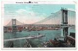 Carte postala circulata SUA 14 Iulie 1924 Manhattan Bridge - New York