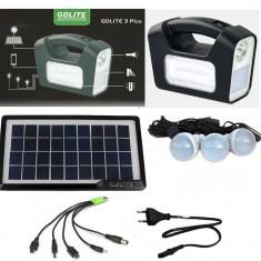 Panou solar fotovoltaic iluminare 3 becuri lanterna incarcare telefon 3 lampi