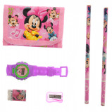 Set ceas, pentru copii, cu Minnie Mouse, portofel si rechizite cadou - 8012629