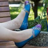 Balerini de dama din piele Ninna Art 315 albastru, 35 - 40, Piele naturala