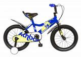 Bicicleta copii 16 FIVE Simipour cadru otel culoare albastru galben roti ajutatoare varsta 4 6 ani