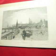 2 Reproduceri vechi- Grafica- sec.XIX - Moscova -Kremlin si Turnul lui Ivan
